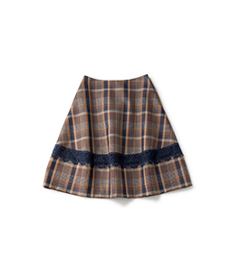 Marché check lantern skirt