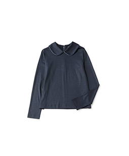 Satin trimming collar pullover