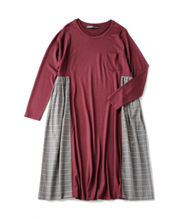 James T-cloth British check fluffy dress