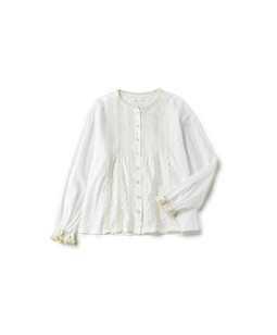 Cotton lawn and wool lace blouse