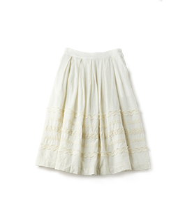 Wool gauze and lace refine skirt