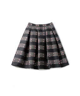 Vintage Circle Jacquard tuck skirt