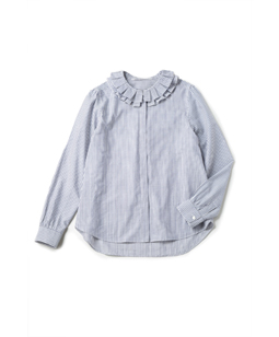 Washable stripe Wtuck collar blouse