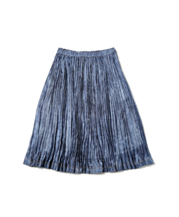 Bright denim random pleated skirt