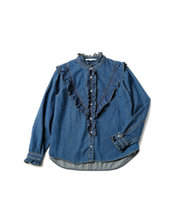 Slab denim victorian blouse