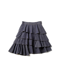Slab denim fluffy skirt