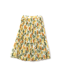 Climbing rose flare pleats skirt
