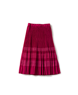 Sheer cloth and lace flare pleats skirt