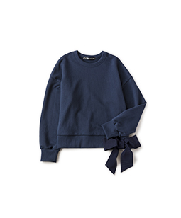 Side ribbon sweat shirt