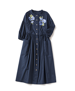 Compact lawn rose EMB dress
