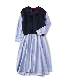 Tilden vest and stripe trompe-l'oeil dress