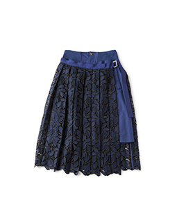Military cloth and leaf lace 2 face skirt