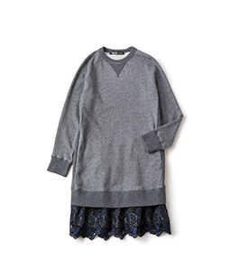 Fleece and leaf lace trompe-l'oeil dress